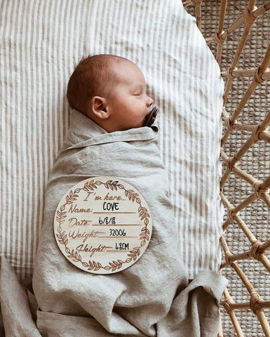 I'm Here Wooden Birth Announcement Disc