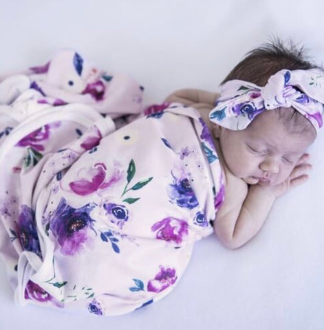 Floral Kiss Jersey Wrap and Topknot Set