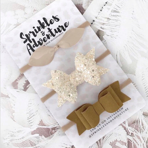 Sprinkles and Adventure Indie Bow Set