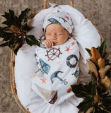 Shipwreck Swaddle Sack and Beanie Set