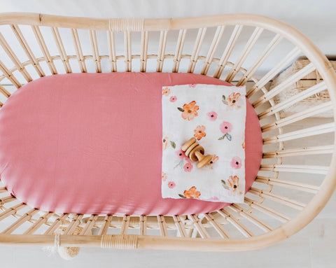 Rouge Pink Bassinet Sheet | Change Cover