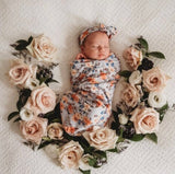 Vintage Blossom Swaddle Sack and Topknot Set