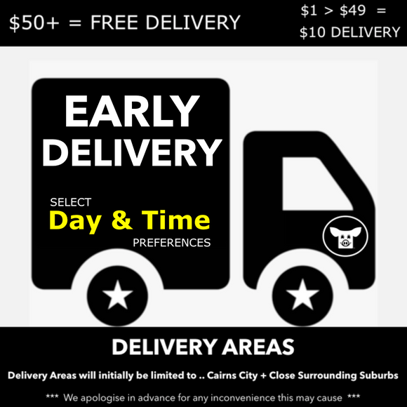 EARLY DELIVERY - PLEASE CLICK ON THIS ICON AND SELECT YOUR DELIVERY ( DAY & TIME ) PREFERENCE FROM THE AVAILABE OPTIONS AND ADD TO YOUR CART BEFORE YOU CHECKOUT >>> DELIVERY FEES ( IF ANY ) ARE AUTOMATICALLY PROCESSED AT CHECKOUT.