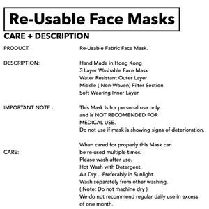 RE-USABLE 3 LAYER MASK - PRODUCT DESCRIPTION ONLY