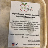 EAT REAL - ( Vegan .. Banana Blossom Vegetable Curry with Basmati Rice)-(.. FROZEN ..)-( 400+gms )