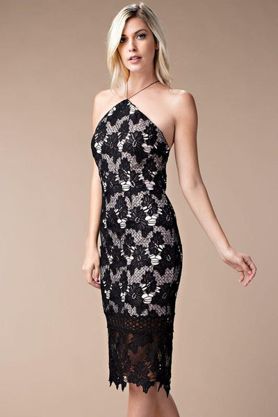 BLACK COCKTAIL LACE DRESS