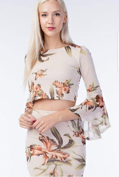 FLORAL 2 PIECE BODYCON DRESS