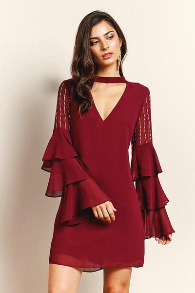 COCKTAIL DRESS RUFFLED-SLEEVE