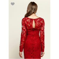 Long sleeve lace mini with back zipper
