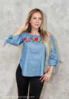light blue denim blouse with flower print