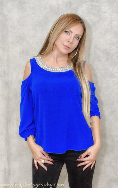 Elegant cold shoulder long sleeve blouse with pearl round neck