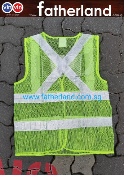 Safety Green Vest with back clear PVC Pocket