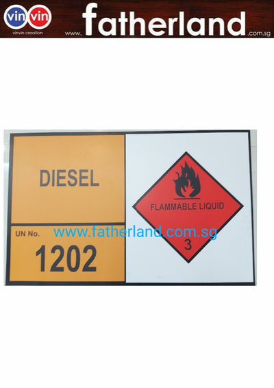 Diesel flammable liquid no 3 Aluminium Signage
