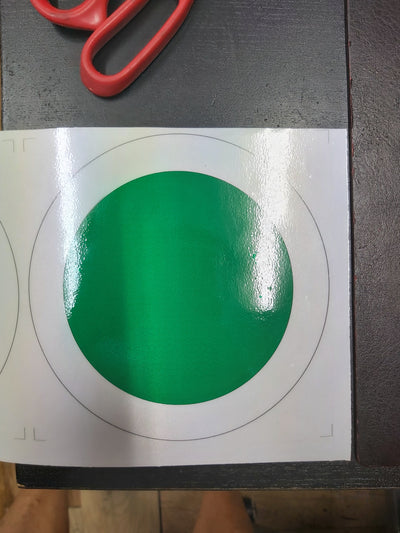 Airport Green and White Round Reflective Signage