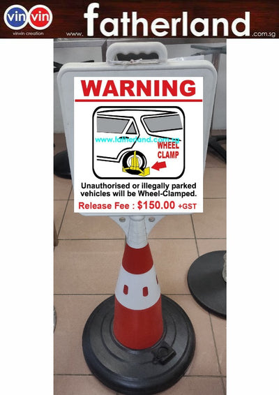 WHEEL CLAMP SAFETY CONE REFLECTIVE WITH SIGNAGE