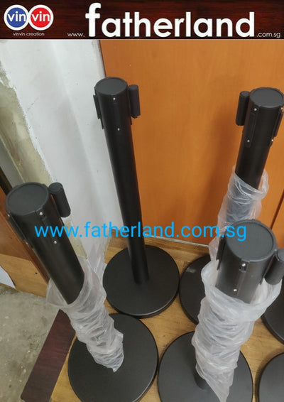 Queue Pole stand Black Pole with Black Belt (  CV19 series )
