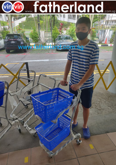 SUPERMARKET 2 Layers shopping trolley with basket