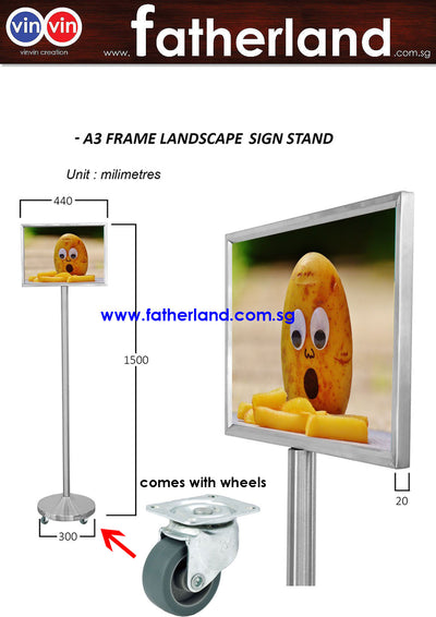 Portable VINVIN Sign Stand A3 Landscape with Wheels and Reflective Signage