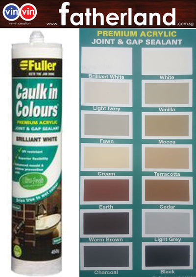 FULLER CAULK IN COLOURS ACRYLIC SEALANT 450G ( BRILLIANT WHITE )