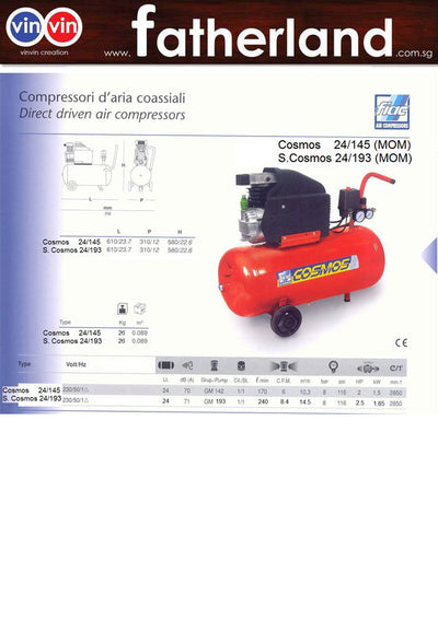 FIAC S.Cosmos (AB) 24/193 2.5HP air-compressor with MOM Certificate