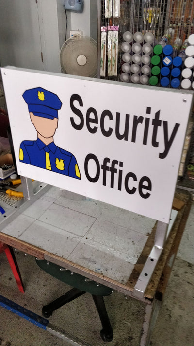 SECURITY OFFICE OUT STEEL STAND A2 SIGNAGE