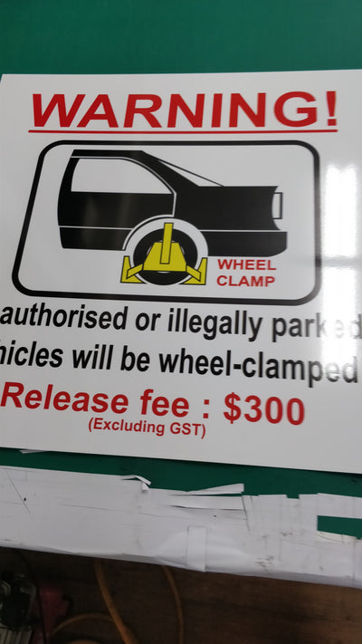 WHEEL CLAMP SIGNAGE RELEASE FEE $300