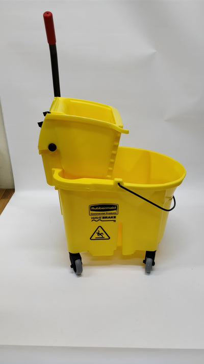 Rubbermaid 7580 WaveBrake 35qt Side Press Mop Bucket & Wringer (RCP 7580-88 YEL)
