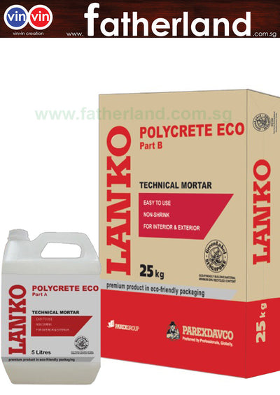 LANKO POLYCRETE A+B ECO MODIFIED CEMENTITIOUS MORTAR 25KG POWDER+5L LIQUID