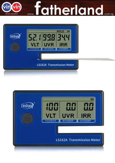 LS162A Transmission Meter Window Tint Meter Filmed Glass Tester Portable Visible Light Transmission Windshield VL 550nm UV 365nm IR 1400nm
