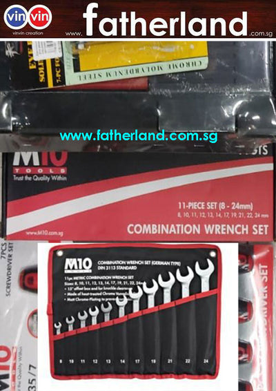 M10 Combination Wrench Set (din Type) Satin Finish 005-011-811
