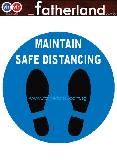 MAINTAIN SOCIAL DISTANCING FLOOR MARKER ROUND DESIGN 2 BLUE
