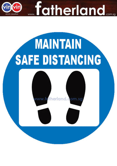 MAINTAIN SOCIAL DISTANCING FLOOR MARKER ROUND DESIGN BLUE