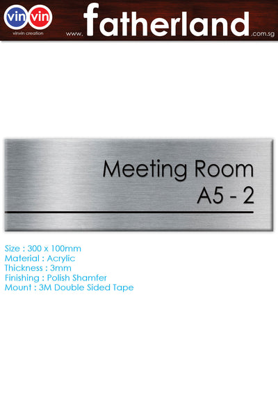 MEETING ROOM ACRYLIC SIGNAGE WITH ALUMINIUM VINYL