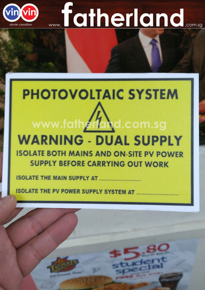 Photovoltaic System Warning Dual Supply  Signage