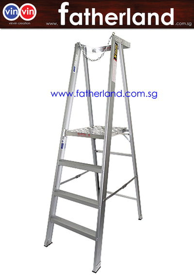 ALUMINIUM PLATFORM LADDER WITH CHAIN AND LONG RAIL