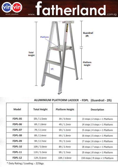 ALUMINIUM PLATFORM LADDER WITH GUARDRAIL