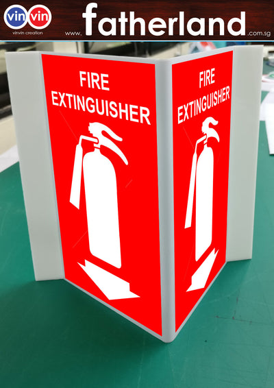 FIRE EXTINGUISHER TRIANGLE SIGNAGE ARROW DOWN