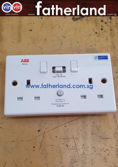 ABB 2 Gang 13A 30mA Residual Current Device RCD Switched Socket Outlet PVC (CRS213)