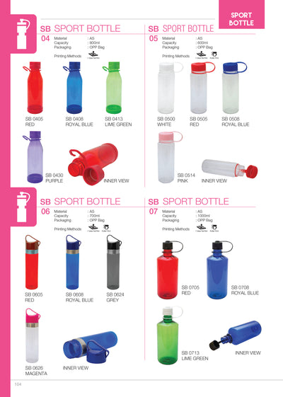 COLOURED WATER BOTTLE WITH LOGO PRINT CATALOGS