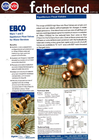 "4""X3"" <EBCO> BRASS BALL FLOAT VALVE C/W 15"" COPPER BALL"