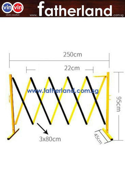 EXPANDABLE BARRICADE STEEL POLE, ALUM MESH, YELLOW/BLACK ( WITH WHEEL ) HG Series Scissor yellow and black barrier