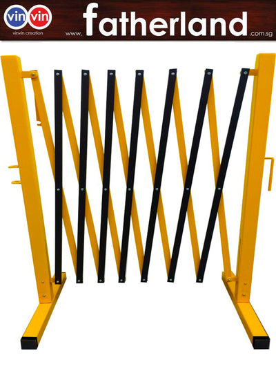 EXPANDABLE BARRICADE STEEL POLE, ALUM MESH, YELLOW/BLACK, UP TO 2.5M. ( WITH WHEEL )