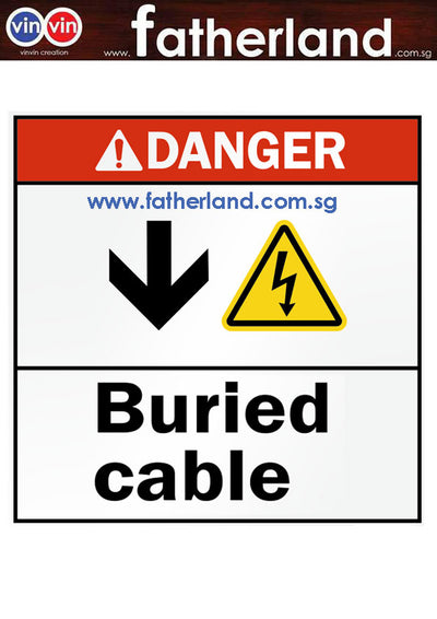 ANSI Danger Sign: Buried Cable (With Down Arrow & Electric Shock Symbol)