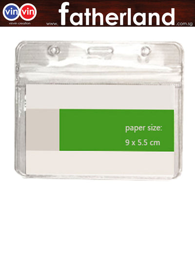 PVC Transparent Card Holder w/zip lock 9.5cm x 6cm (Landscape)