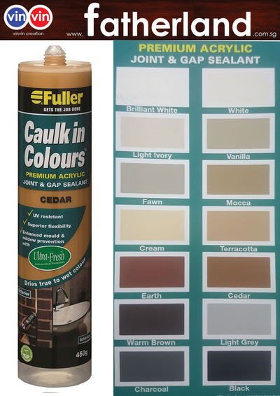 FULLER CAULK IN COLOURS ACRYLIC SEALANT 450G  ( CEDAR )