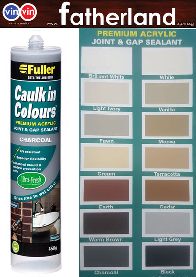 FULLER CAULK IN COLOURS ACRYLIC SEALANT 450G ( CHARCOAL )