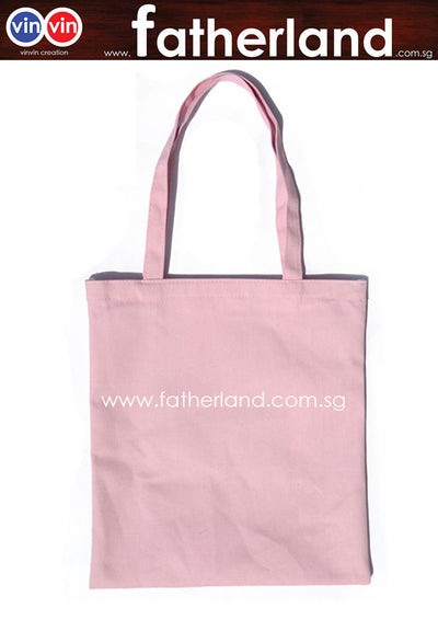 Canvas cotton tote shopping shoulder bag  ( Pink )