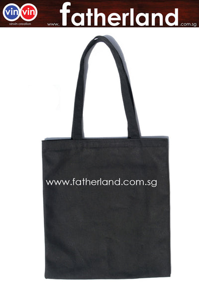 Canvas cotton tote shopping shoulder bag  ( Black )