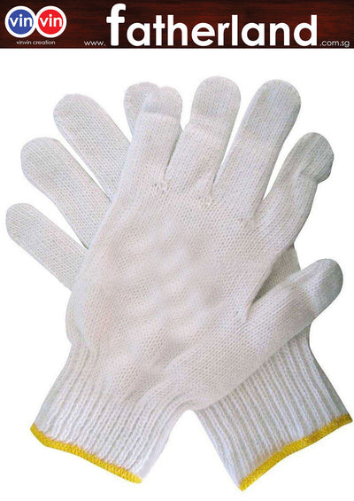 COTTON GLOVE 12 PAIR /PKT WITH YELLOW RUBBER DOTS