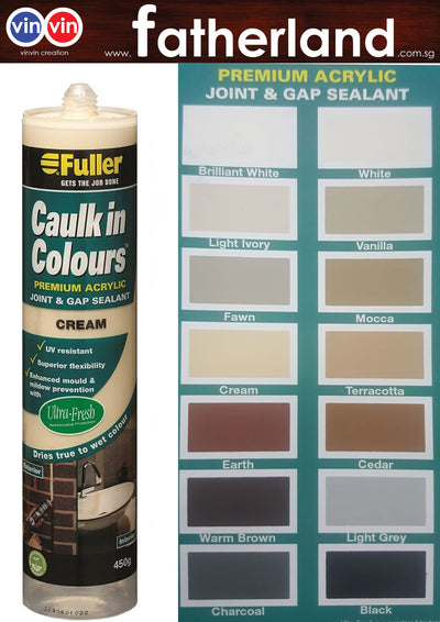 FULLER CAULK IN COLOURS ACRYLIC SEALANT 450G ( CREAM )